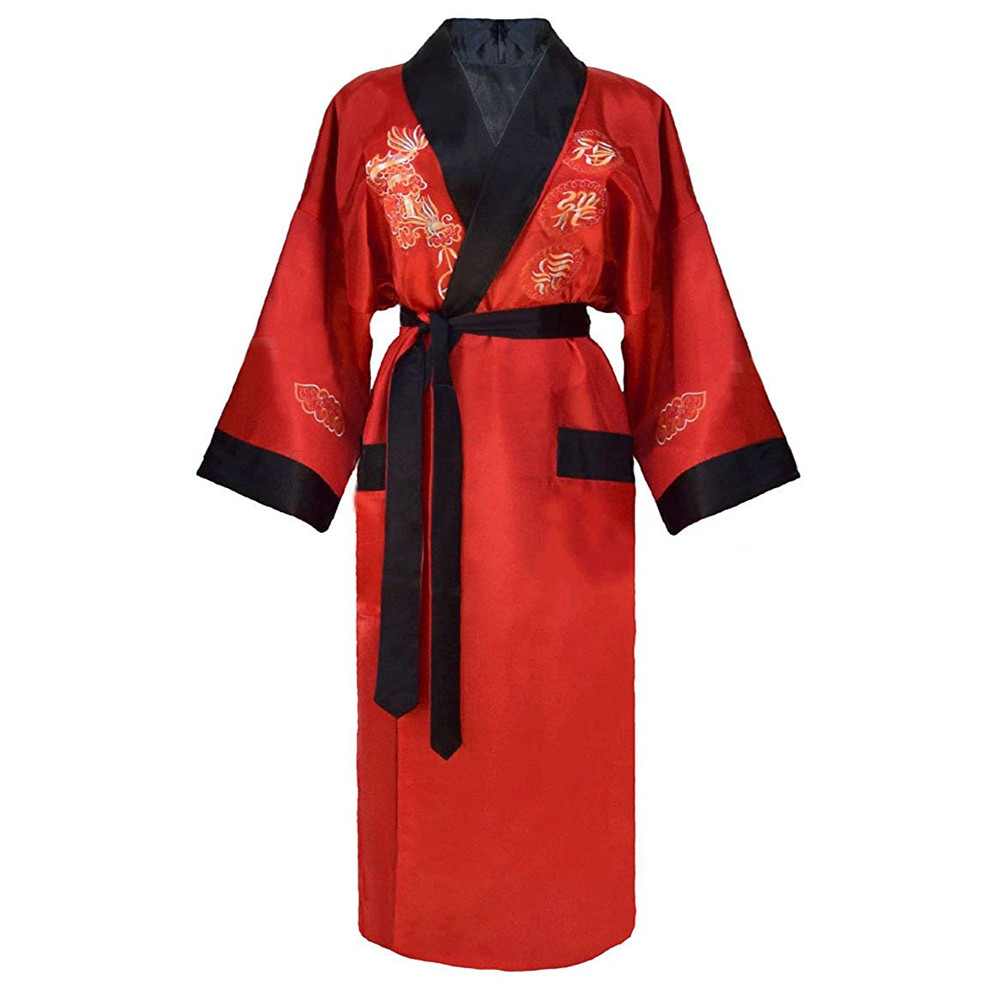 Red Black Chinese Men Reversible Satin Robe Embroidery Dragon Kimono Bathrobe Gown Two-side Nightwear Silky Loose Sexy Sleepwear
