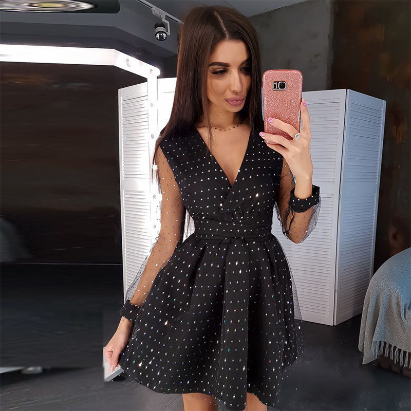 Women Sexy Lace A Line Party Dress Ladies Dots Long Sleeve  V-neck Spring Dress 2020 New Bright Shiny Slim Mini Dress Vestidos