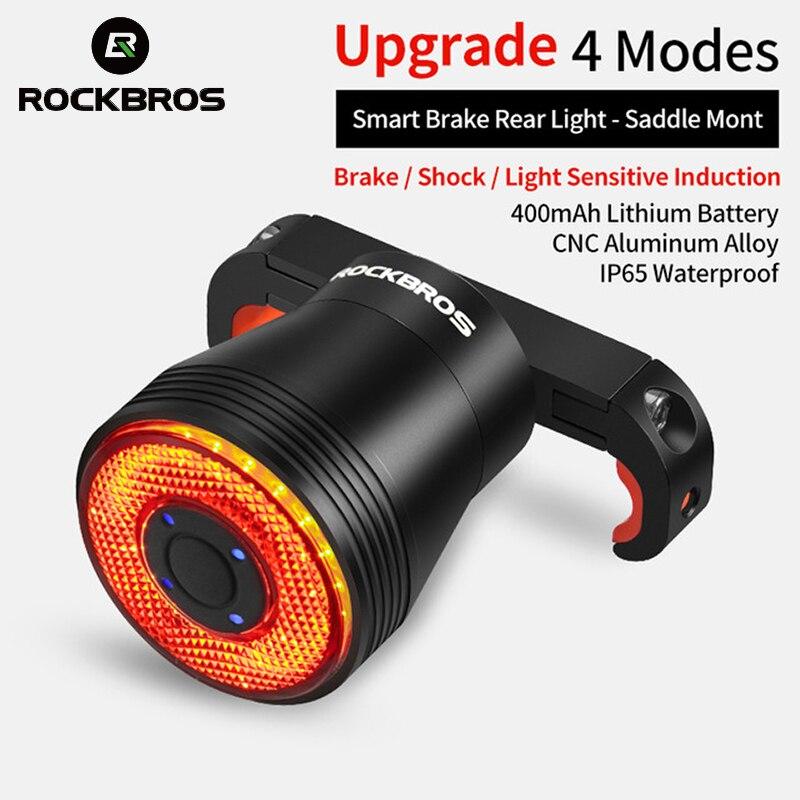 Велосипедный задний фонарь ROCKBROS, умный светодиодный стоп-сигнал с автоматическим датчиком, защита от дождя, зарядка через USB, светильник фсв...