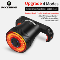 ROCKBROS-Luz LED trasera de freno de Bicicleta inteligente, autodetección, a prueba de lluvia, recargable vía USB, luz trasera de bicicleta de carretera