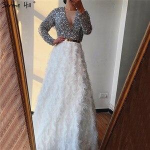 Image 3 - Dubai Bianco A Maniche Lunghe Abiti Da Sera di Lusso 2020 Con Scollo A V Sexy Paillettes A Più Livelli Abiti Da Sera Serena Hill LA6574