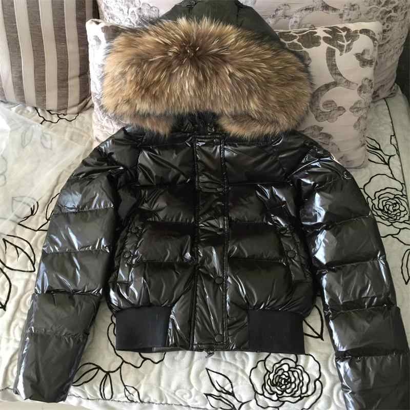 Natural fur collar Winter Jacket Women glossy Outwear Winter hooded Waterproof Down Coat Female Warm Down Parkas