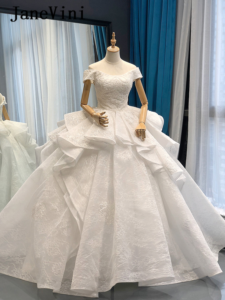 JaneVini Elegant Dubai White Princess Long Wedding Dresses 2019 High-end Off Shoulder Beaded Lace Sparkle Bridal Gown Real Photo