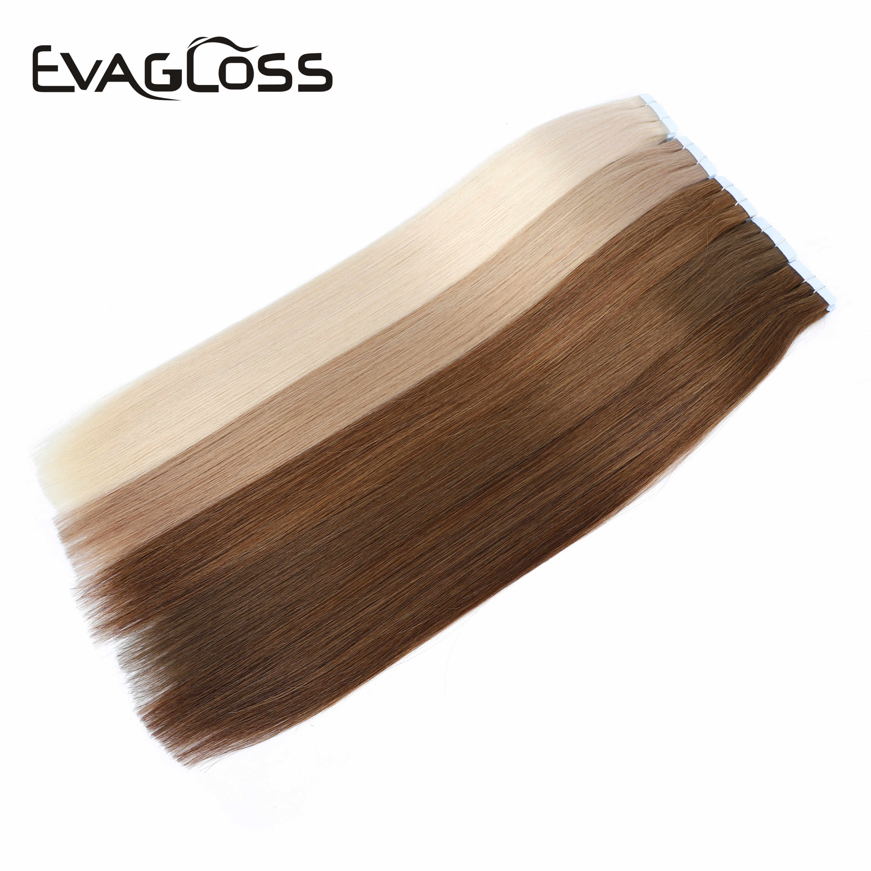 "EVAGLOSS Skin Weft Machine Remy Tape in Human Hair Extension 20pcs 40pcs 80pcs Adhesive Tape in Hair Extensions 12""/16""/20"""