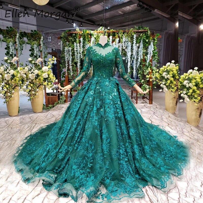 Muslim Vintage Dark Green Lace Wedding Dresses Puffy Long Sleeves High Neck Beads Applique Court Train Vestido De Novia 2019