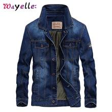 купить Denim Jacket Men Turn-down Collar Casual  Jackets Mens 2019  Solid Color Winter Jacket Slim Fit Warm  Denim Men Jacket дешево