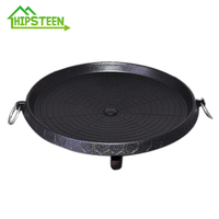 HIPSTEEN Korean Type Smokeless Nonstick Medical Stone Party Stovetop Grill Roaster for Indoor and Outdoor Black