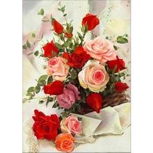 Набор для вышивки крестиком 11CT, Набор для вышивки «сделай сам» с цветами и розами, хлопковая нить, холст с принтом, украшение для дома, распро...