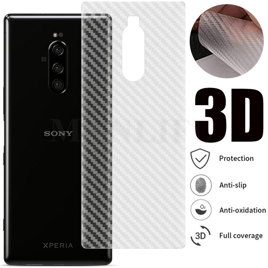 10Pcs 3D Carbon Fiber Protective Guard Film For Sony Xperia <font><b>1</b></font> <font><b>5</b></font> <font><b>10</b></font> Plus XZ3 XZ2 XZ1 Compact XZ XZ2 Premium Back Screen Protector image