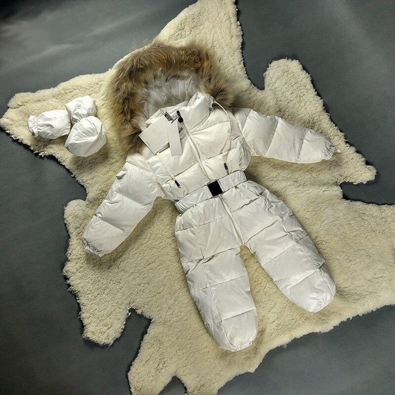 Manteau bébé Snowsuit hiver 3-36 mois duvet de canard blanc chaud fourrure nouveau-né Snowsuit rose noir bébé garçon fille vêtements hiver