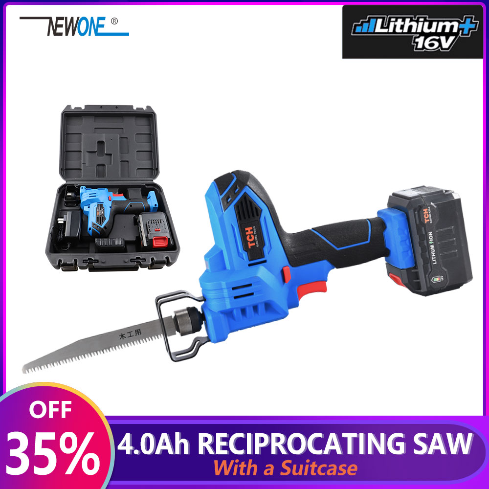 16V Portable Reciprocating Saw Kit Saber Saw With 4.0Ah Lithium Battery Cordless Powerful Wood/Metal Cutting Saw With Suitcase