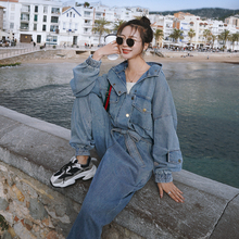 2020 Denim Jumpsuit Women Long Sleeve Hooded Cargo Jeans Overalls Female Streetw