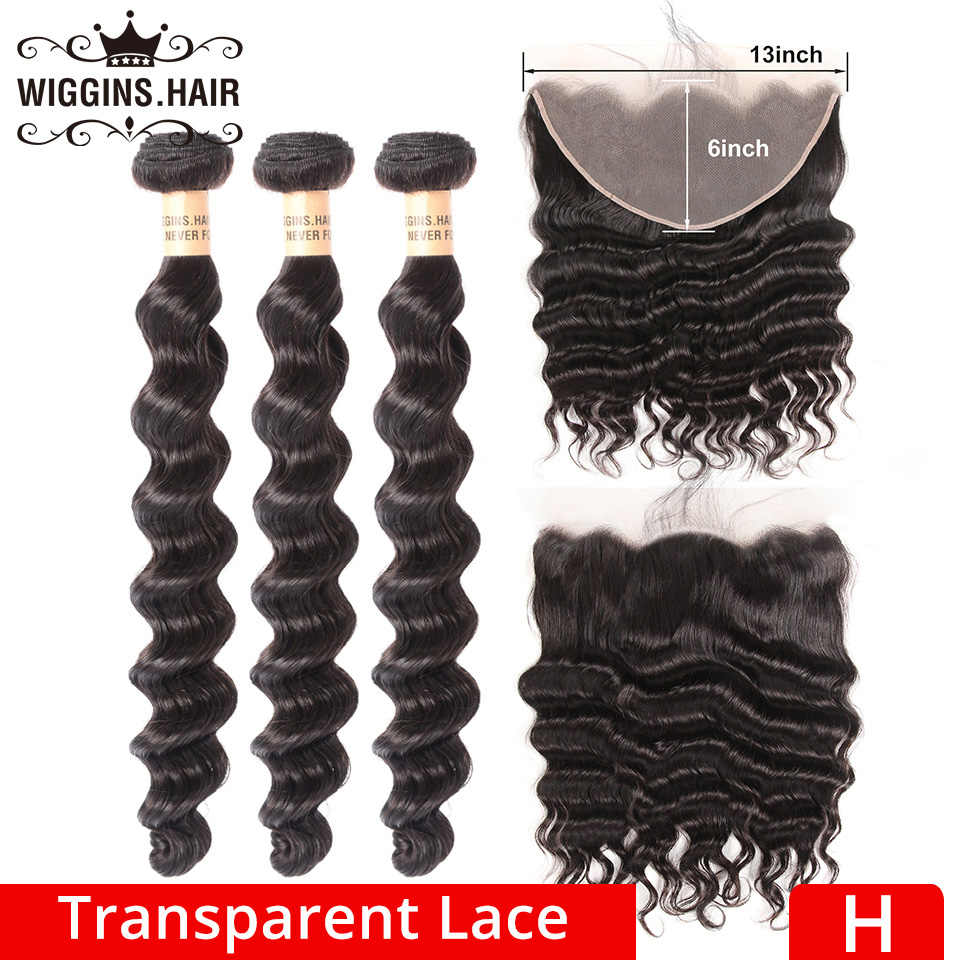 13x6 Transparent Lace Frontal Brazilian Loose Deep Wave 3 Bundles With 13x6 Closure Wiggins Remy Human Hair High Ratio Natural