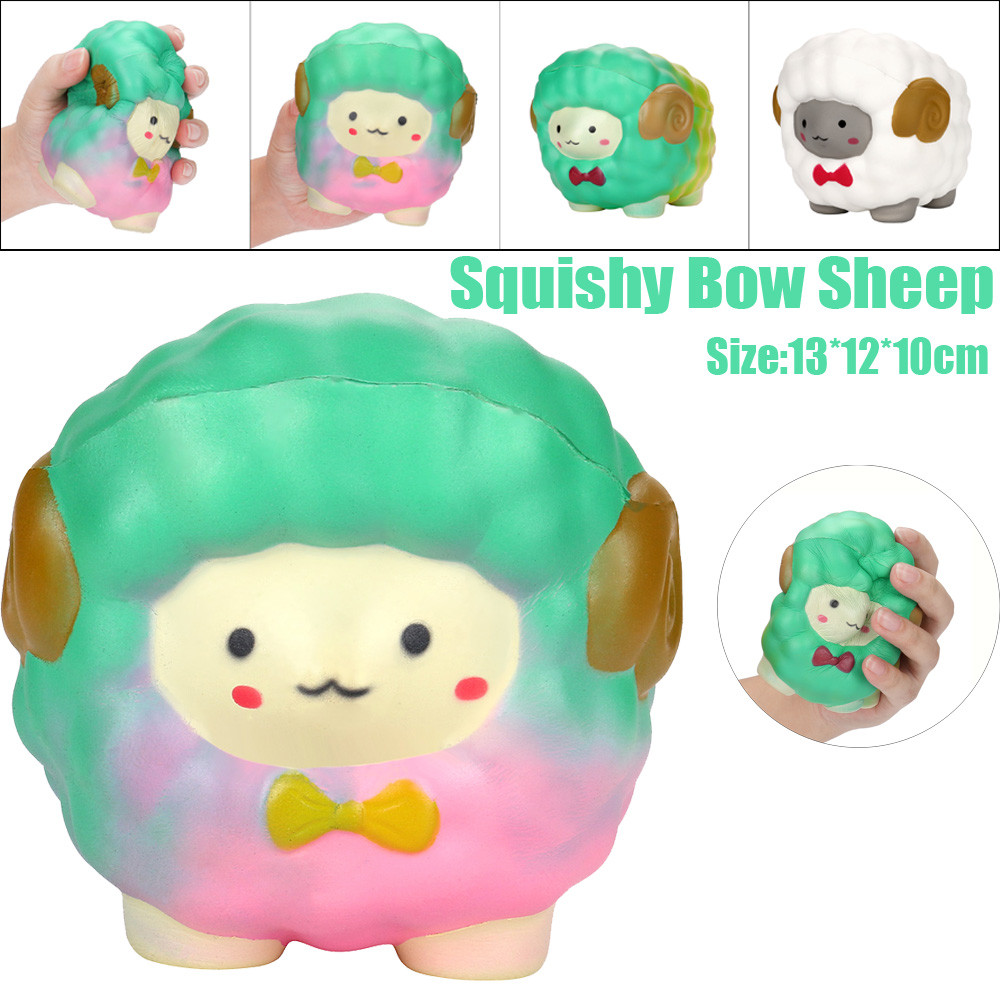 Jumbo Bow Sheep Squishy Slow Rising Cream Scented Decompression Toys Simulation Bow Big Sheep Toy L1231
