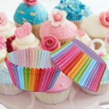 100 pçs colorido cupcake embalagem de bolo de papel caso cozimento copos forro muffin copo de papel bolo ferramentas