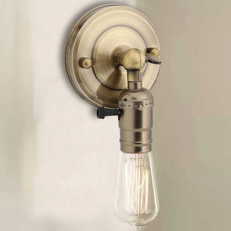 Топ старинный держатель лампы Люстра бра пьедестал Edison украшения поворотный переключатель простой кухня спальня лампа, бронза