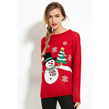 Fashion Red Crew Neck Long Sleeves Snowman Christmas Sweaters for Women Knit Sweater Women Pullovers  Winter Clothes pink two way wear long sleeves crew neck sexy sweater