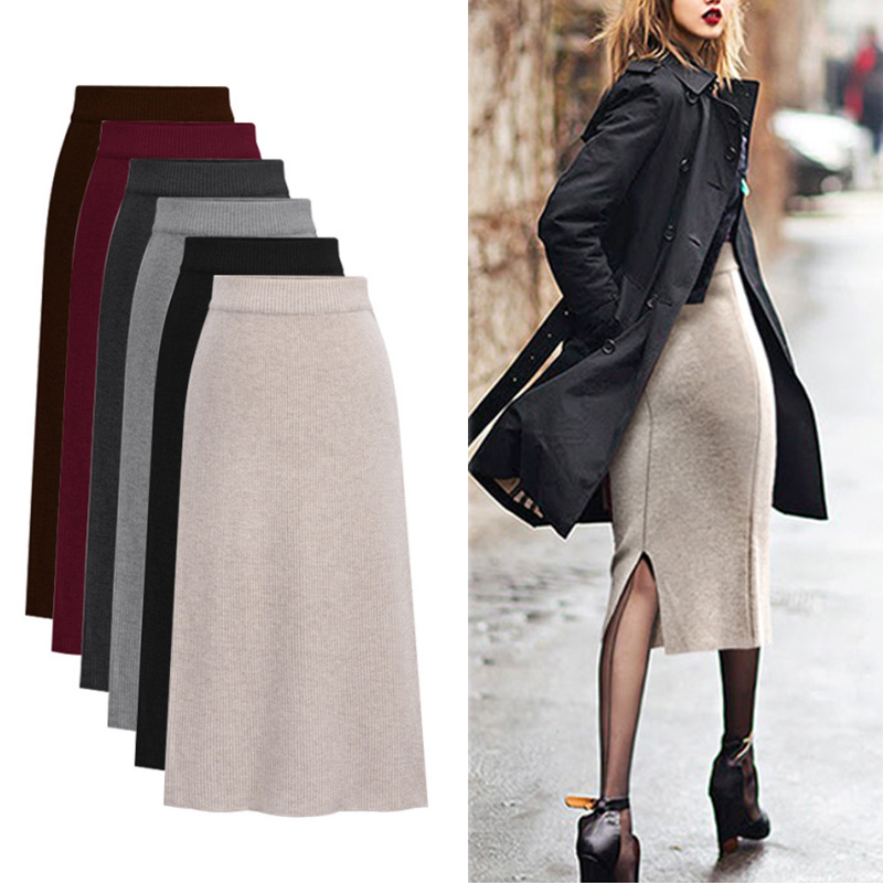 High Waist Knitted Women Midi Skirt Winter Warm Body-con Skirt Package Hip Splits Rib Skirts