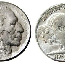 США 1915S с гравировкой в виде американского бизона из никеля пять центов копия декоративная монета