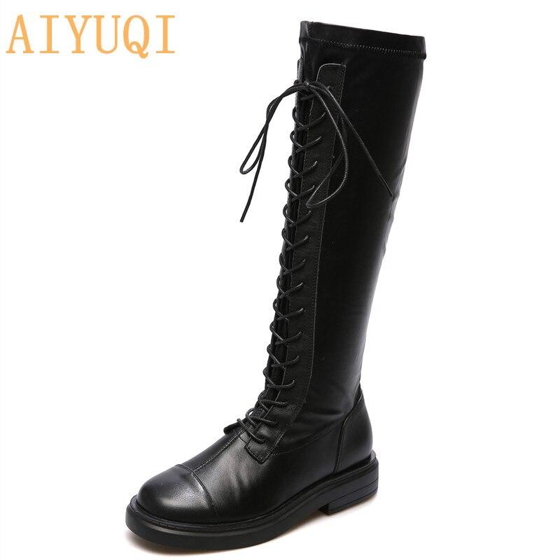 Femmes en cuir véritable bottes 2020 nouveau automne à lacets chevalier bottes haut Tube élastique courte en peluche jambes minces bottes antidérapantes dames