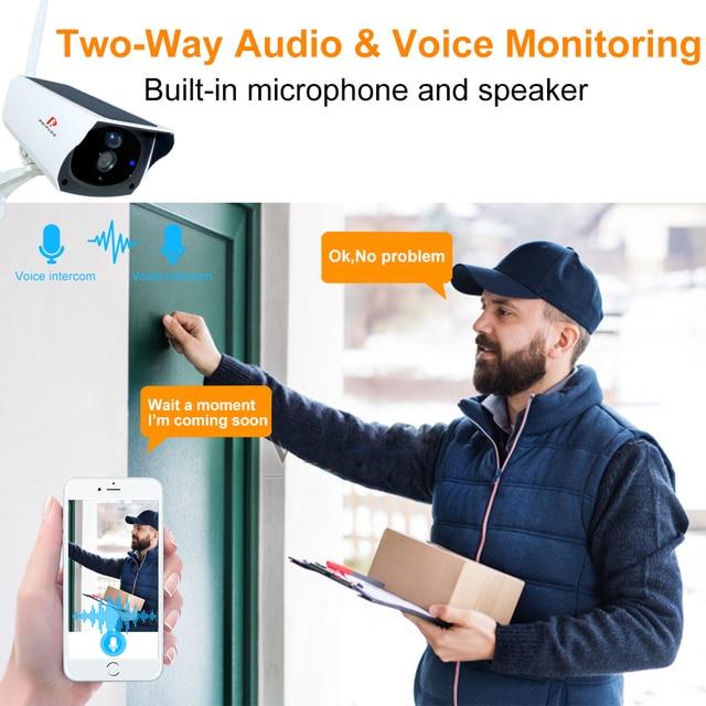 Pripaso 1080P WI FI Solar Camera HD Wireless IP67 Waterproof WiFi Exterior Security Surveillance CCTV IPcamera Two Way Audio Cam 3