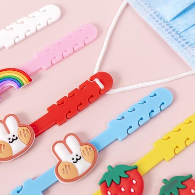 10pcs Cartoon Face Mask Ear Hooks Adjustable Anti-slip Ear Protection Mask Ear Grips Extension Hook Masks Buckle Holder for Kids 4