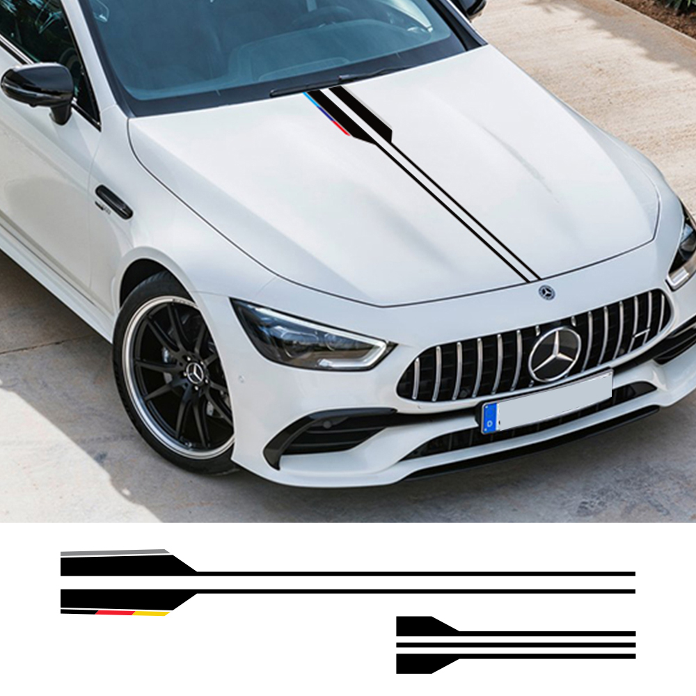 Car Hood Sticker For <font><b>Mercedes</b></font> <font><b>W203</b></font> W204 W205 BMW E39 E46 E60 Audi A3 8P 8V A4 B8 Chevrolet Cruze Car Accessories Vinyl Decals image