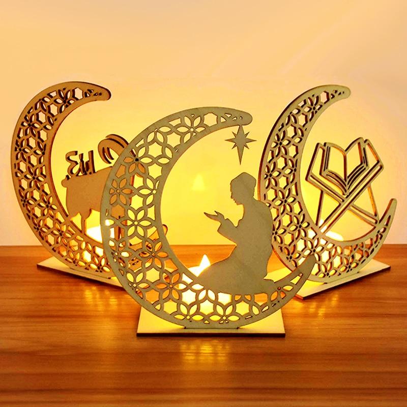 Decoración de Ramadán EID de madera para decoración, colgante de madera Eid Mubarak para el hogar, fiesta musulmana islámica, Ramadán Kareem Eid Al Adha