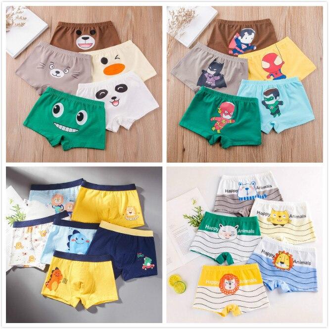 4Pcs Kids Boys Cartoon Animal Print Panties Boxer Briefs Cotton Shorts Underwear