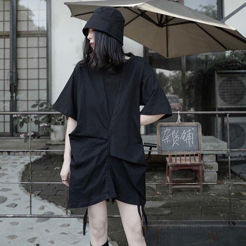 [EAM] Women White Pleated Split Big Size Long T-shirt New Round Neck Half Sleeve  Fashion Tide  Spring Summer 2020 1W296 2