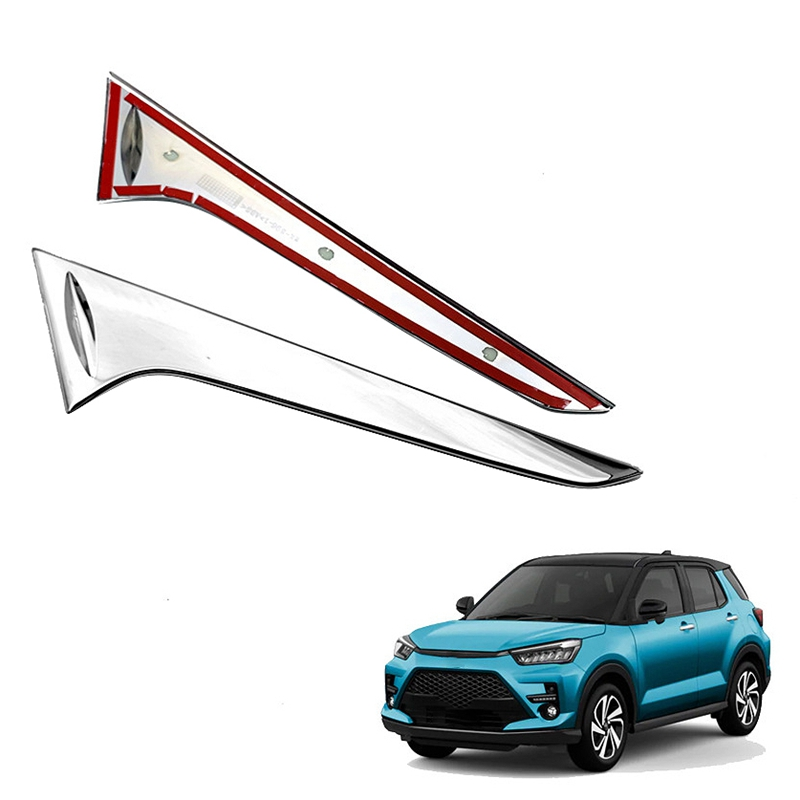 Top!-for Toyota Razie 2020-2021 ABS Chrome Rear Tail Spoiler Window Side Triple-cornered Decoration Cover Trim