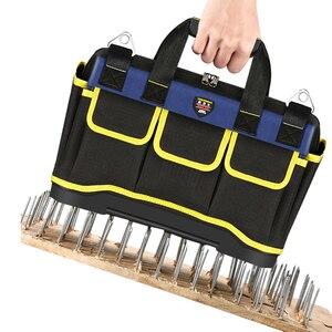 Image 3 - Alet çantası taşınabilir elektrikçi çantası çok fonksiyonlu onarım kurulum tuval büyük kalınlaşmak alet çantası iş cep