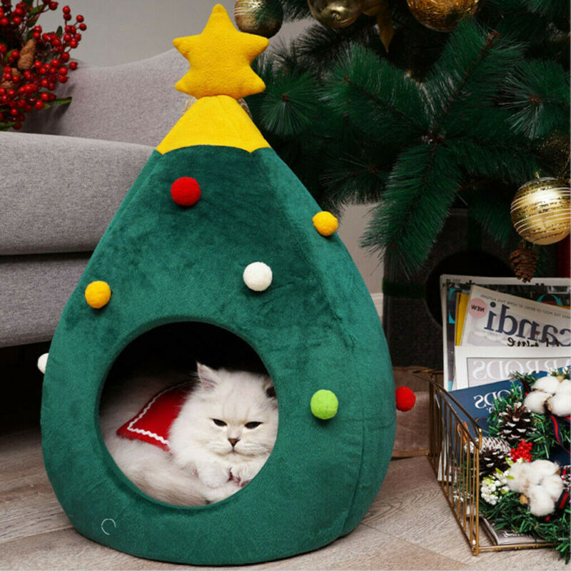 2020 Newest Hot Christmas Dog <font><b>Cat</b></font> <font><b>Bed</b></font> <font><b>House</b></font> Soft Nest Tree Shape Pet <font><b>Bed</b></font> <font><b>Cat</b></font> Cave Litter Tent image
