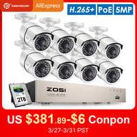 ZOSI H.265 + 8CH 5MP POE Sistema di Telecamere di Sicurezza Kit 8x5MP Super HD IP della Macchina Fotografica Esterna Impermeabile CCTV Video di Sorveglianza NVR Set
