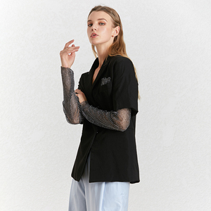 Image 3 - TWOTWINSTYLE Diamond Patchwork Womens Blazer Notched Collar Long Sleeve Summer Elegant Coats Female 2020 Fashion Clothes New