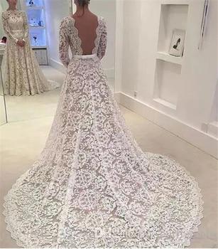 Soft Lace A-Line Long Sleeves Wedding Dresses For Bride with Train Princess Bridal Gowns vestido de noiva robe de mariee недорого