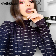 Goth Dark Black Gothic Letter Print Sexy Bodycon Bodysuit Summer 2020 Fashion Vintage Turtleneck Slim Long Sleeve Bodysuits