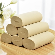 цена на 10 rolls bamboo pulp paper per bag natural color bamboo pulp paper family pack roll Paper 4-layer Thick Household Toilet Paper