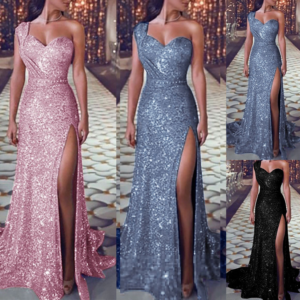 Sequin dress Women Sexy one shoulder Party dress Ladies Elegant robe Ball Gown Gold Bridesmaid V Neck High Split Long Dresss 202