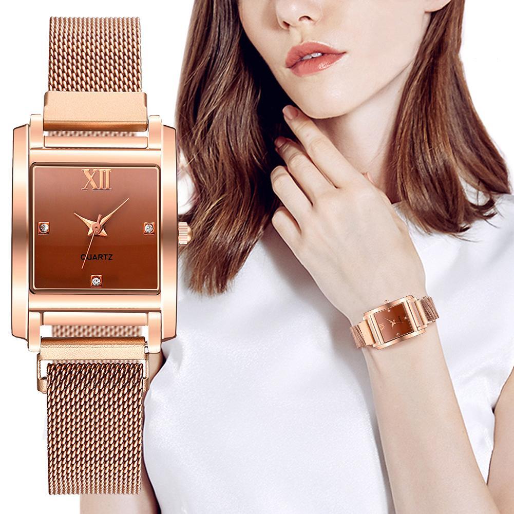 New Women's Watches Fashion Rhinestone Square Magnetic Wrist Watch Luxury Ladies Bracelet Reloj Mujer Clock Relogio Feminino