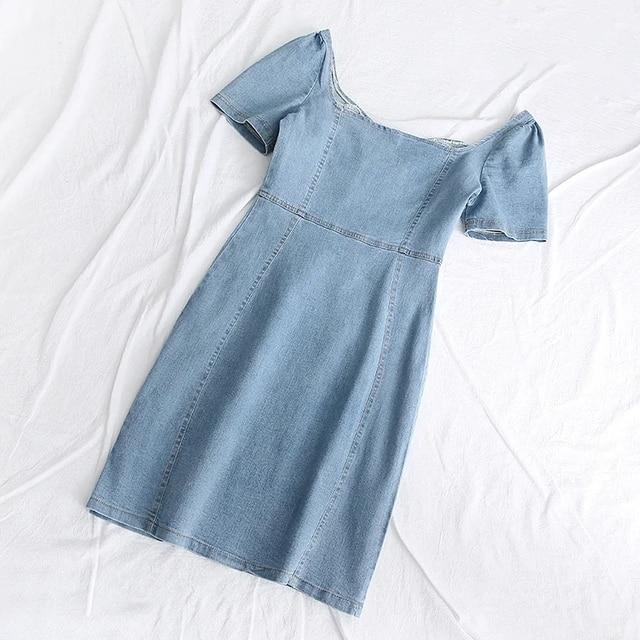 Klacwaya Women Chic Fashion Zipper Blue Denim Mini Dress Vintage Elasticity Female Puff Sleeve Dresses Vestidos Mujer