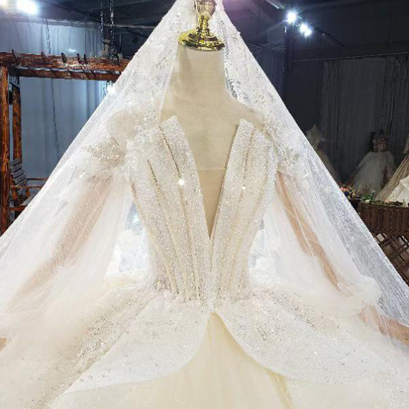 HTL1822 Sequined Beading Wedding Dress 2020 High Neck Long Puff Sleeve Tulled Lace Up Back Applique Ball Gowns 4