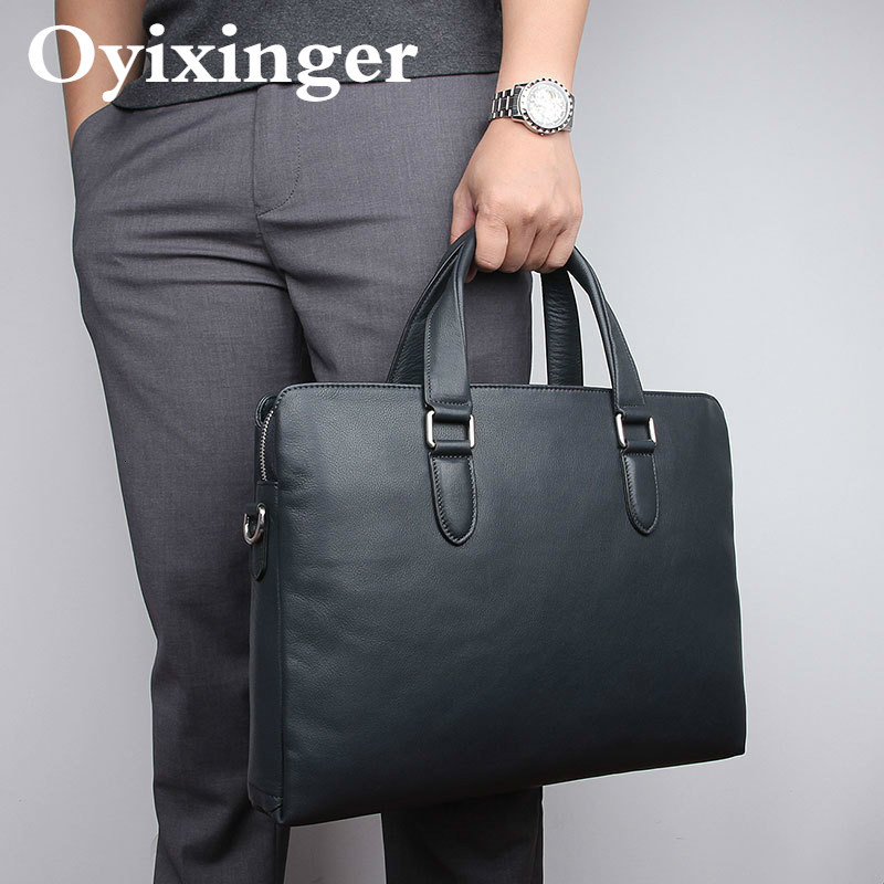 Genuine Original Leather Men Handbag Laptop Briefcase 15.6 Inch Computer Bag Mens Business Briefcase Office Bags For Macbook Pro