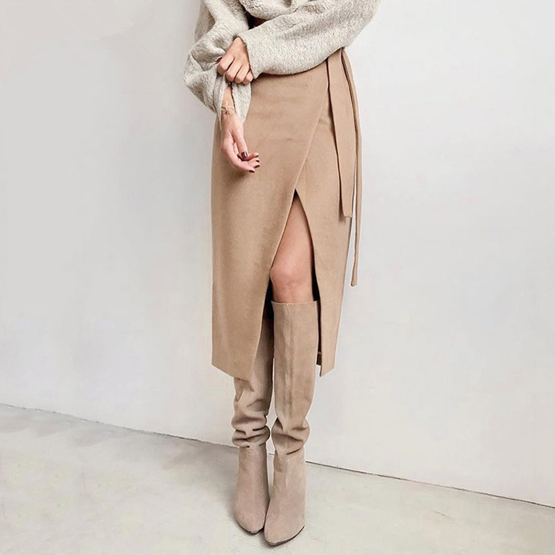 Khaki Suede Long Skirt Women Autumn Winter Casual Wrap Skirt Lace Up Women High Waist Midi Skirt Office Lady Elegant 2019 LX168