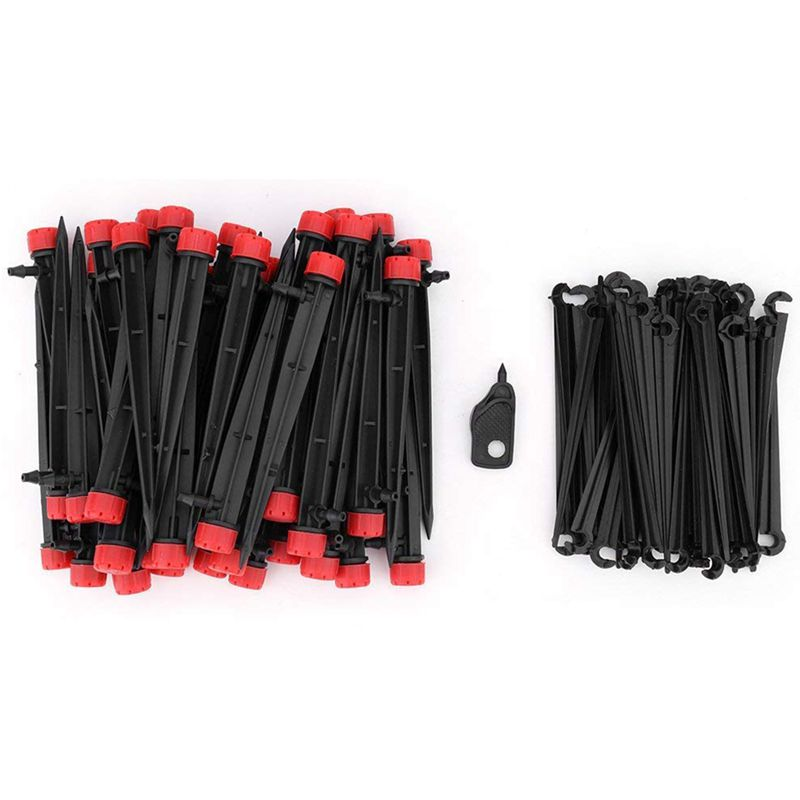 50PCS Drip Irrigation Emitters Adjustable Micro Bubbler + 50PCS Stake Support 1/4 inch Hose Greenhouse Patio Garden Flower Bed S|Watering Kits| |  - title=