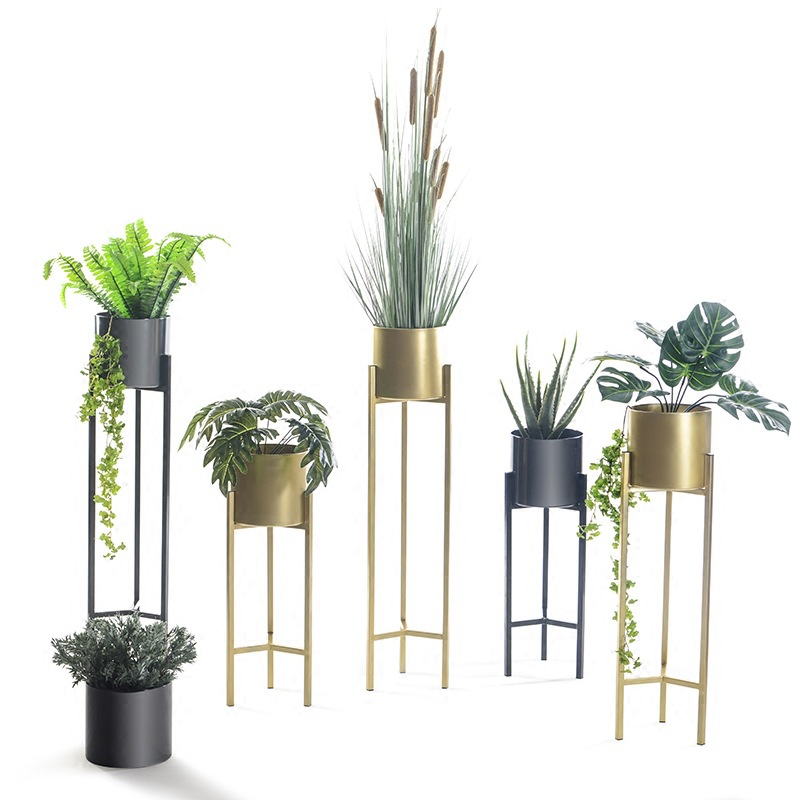 Metal Flower Pot Wrought Iron Flower Stand Home Decoration Flower Arrangement Potted Floor Stand 1pc