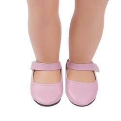 18 дюймов, с круглым вырезом, для девочек с толстой подошвой; Простая платье принцессы розового цвета с украшением обувь из PU искусственной к...
