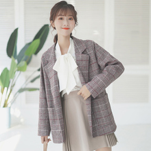 Korean Plaid Ladies Blazer Gray Simple Loose Casual Suit Jacket Stylish Blazer Paillette Women's Clothing Spring Autumn MM60NXZ