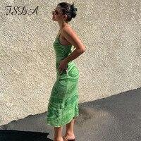 FSDA 2021 принт вязаное облегающее платье женское зеленое Y2K летнее Открытое сексуальное платье без рукавов на бретельках пляжное платье миди платья Вечерние 6