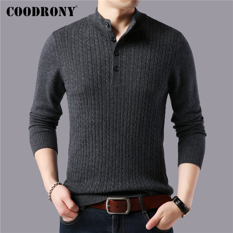 COODRONY Brand Fashion Button Turtleneck Sweater Men Winter Thick Warm Sweaters Pull Homme Pure Merino Woolen Pullover Men 93037